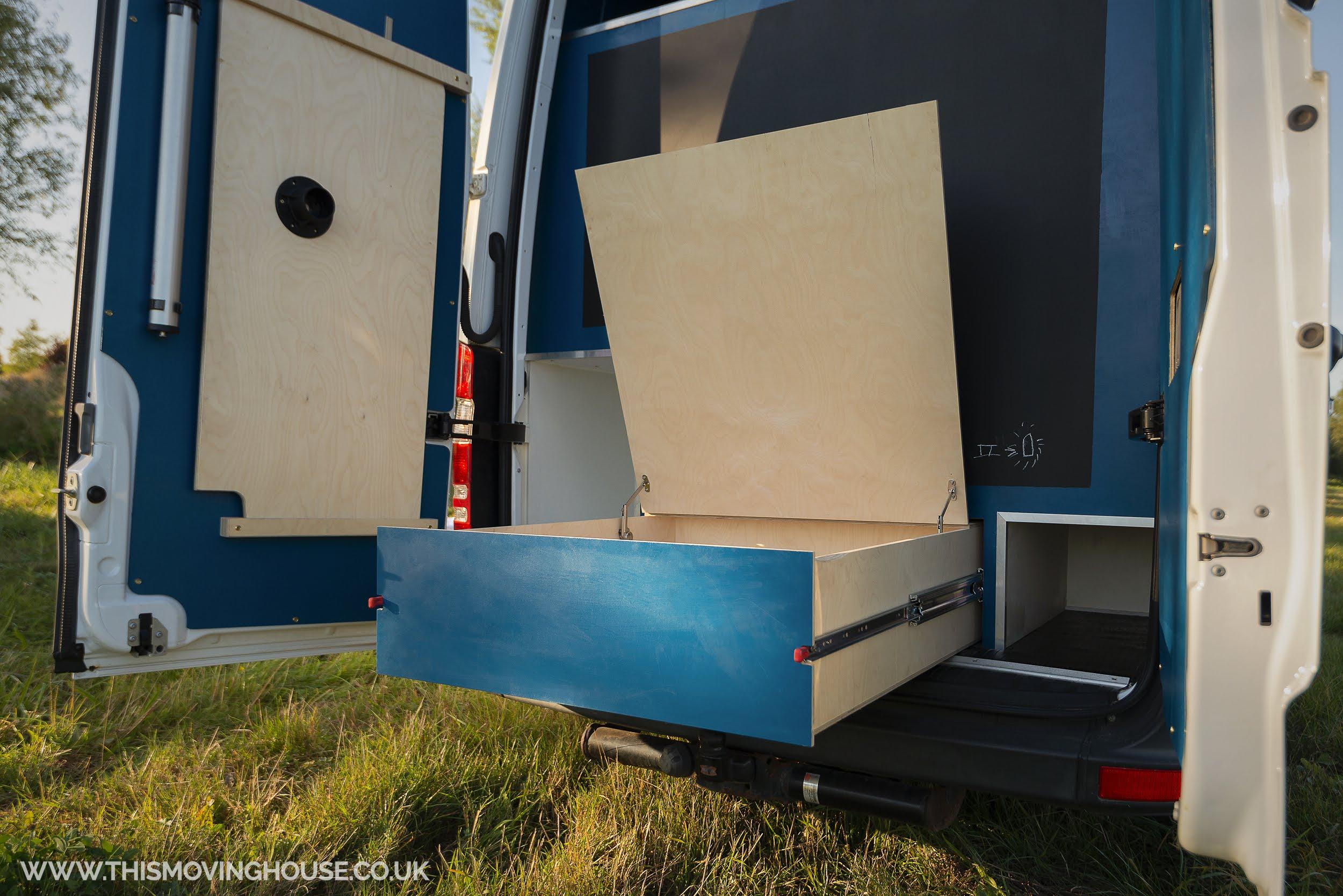 camper van storage in a mercedes benz sprinter