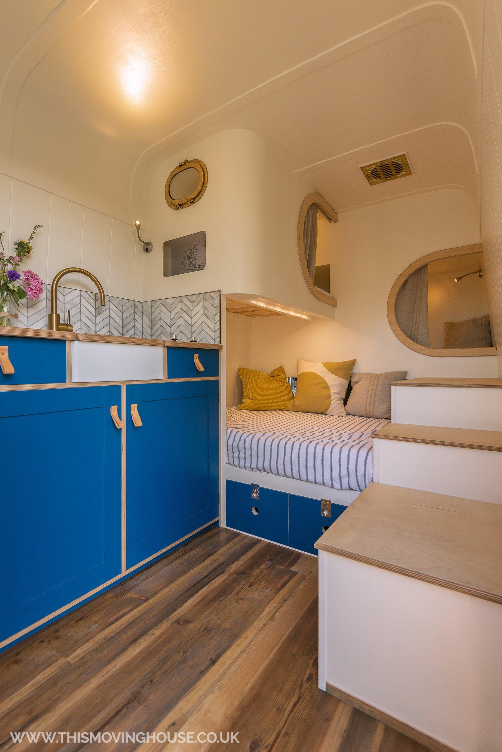 bespoke camper van conversion with mini belfast sink