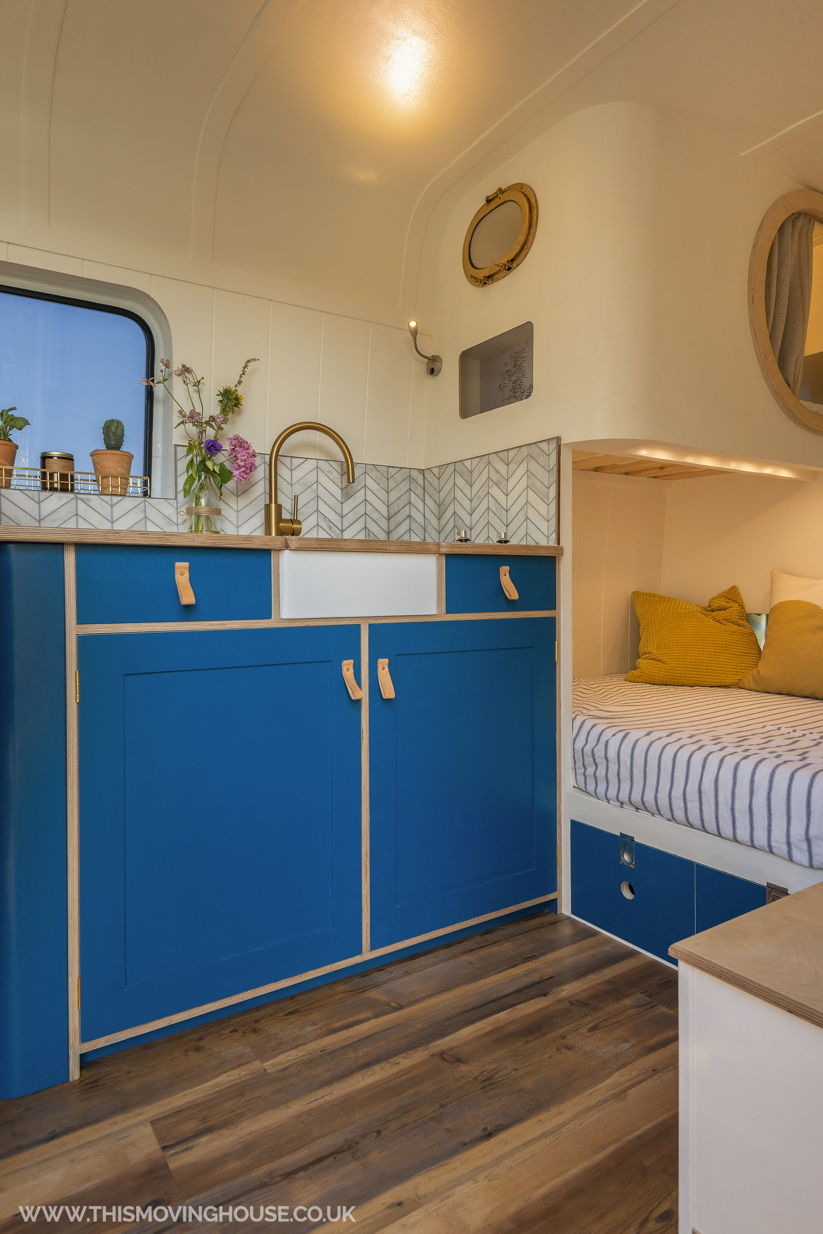 mini belfast sink in a hand made bespoke campervan