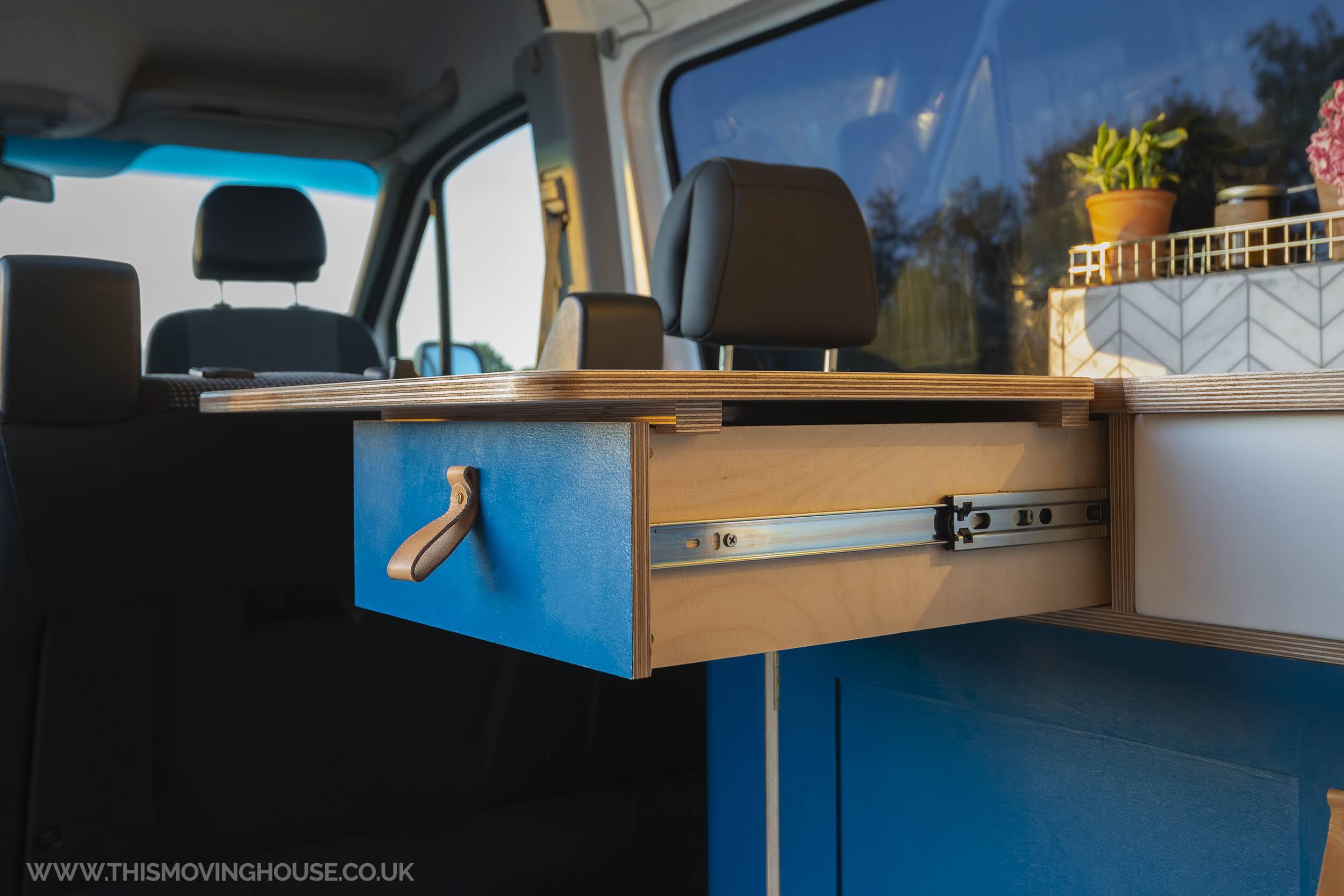 bespoke worktop in a hand built camper van kitchen