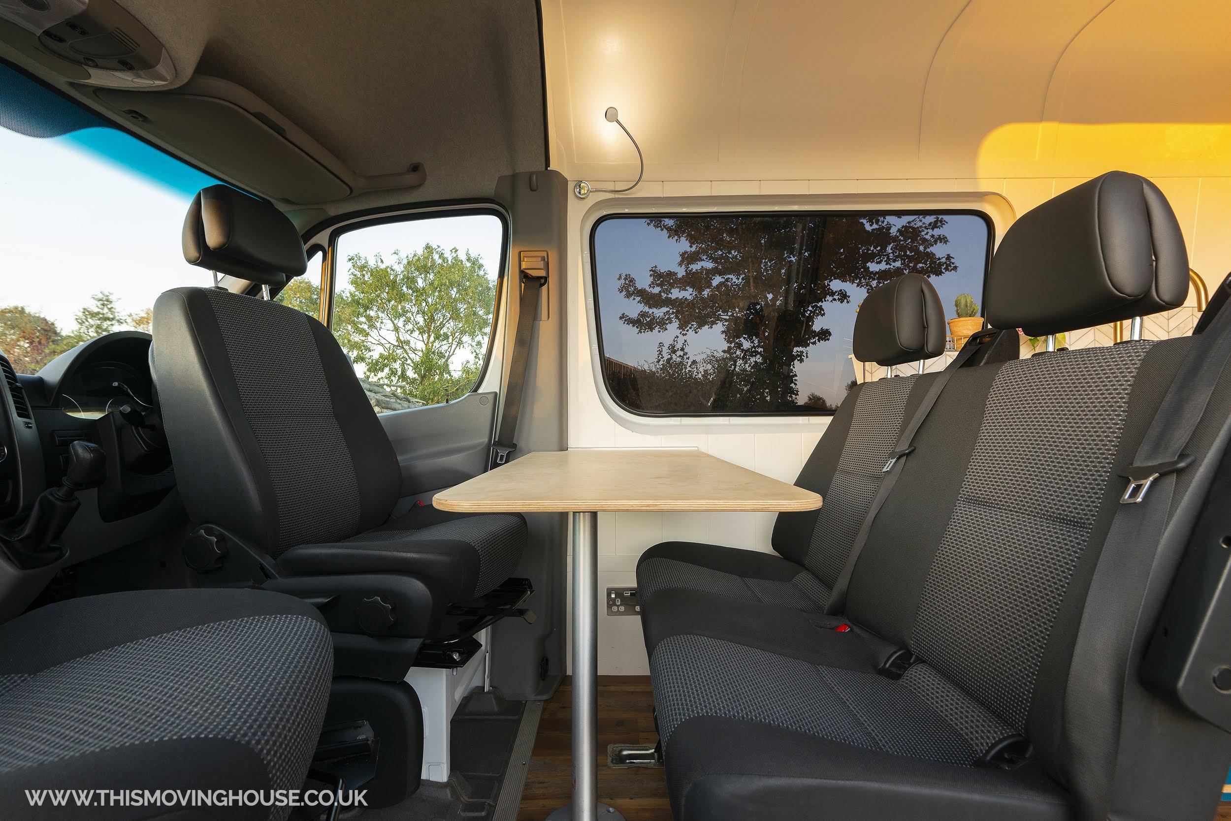 dining area in a handmade camper van