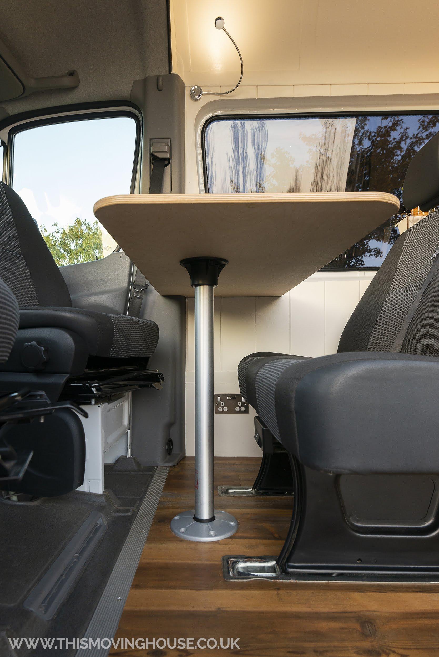 dining area in a bespoke camper van