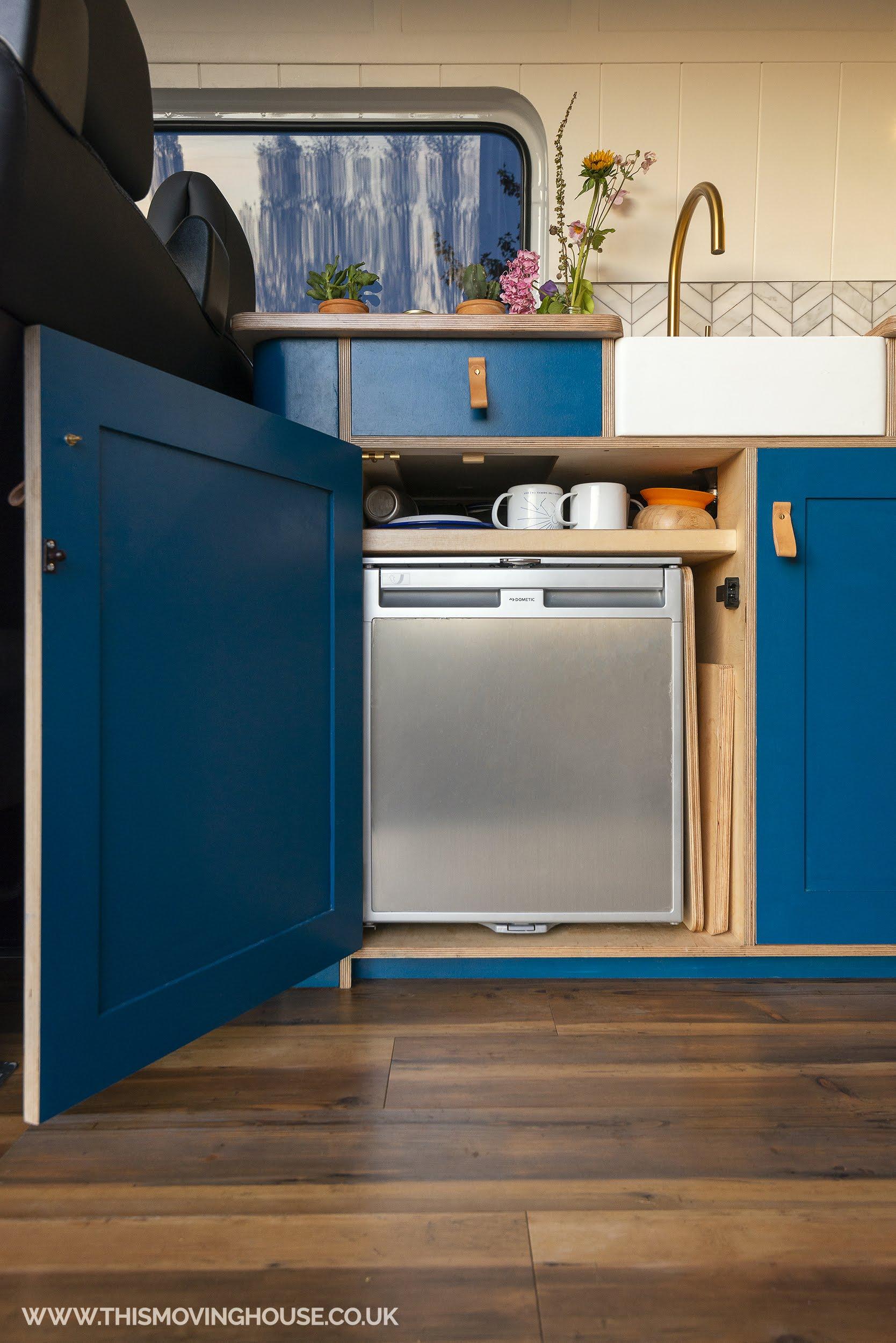 camper van fridge in a bespoke kitchen