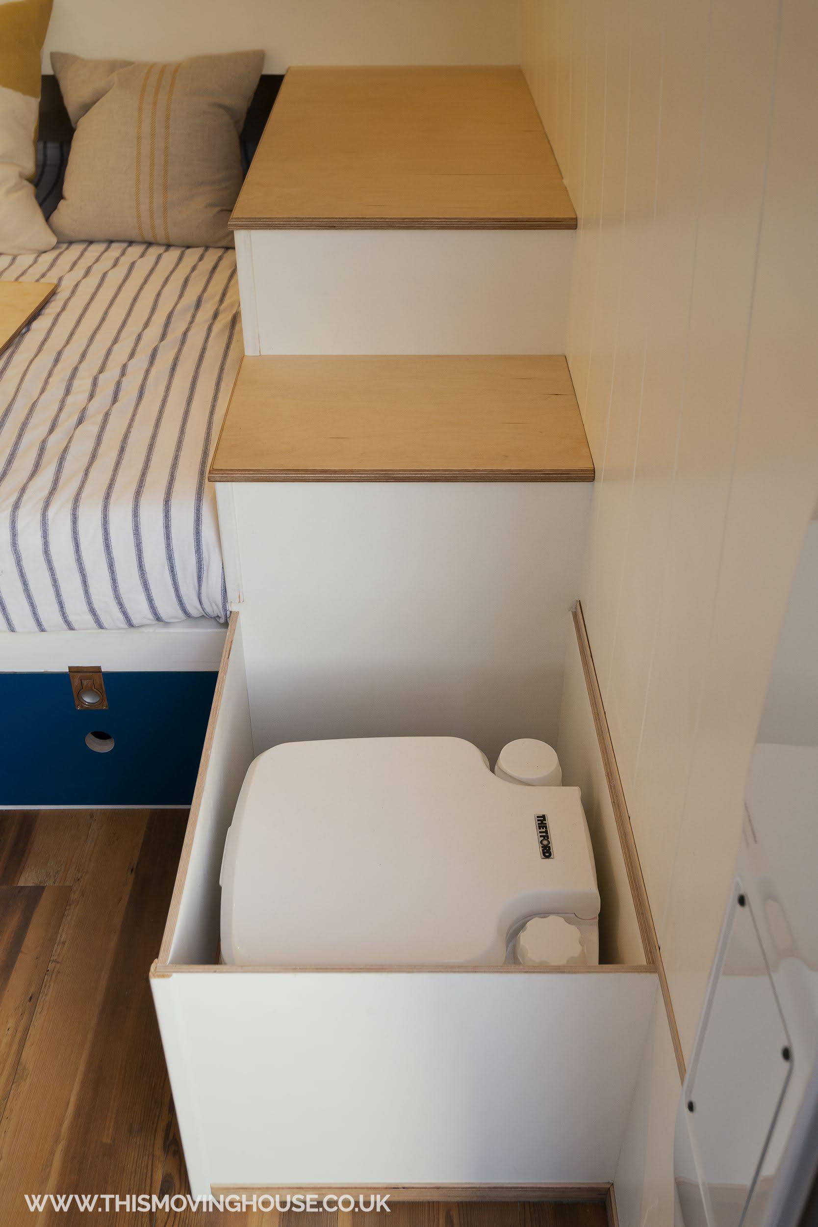 stowed toilet in a camper van toilet