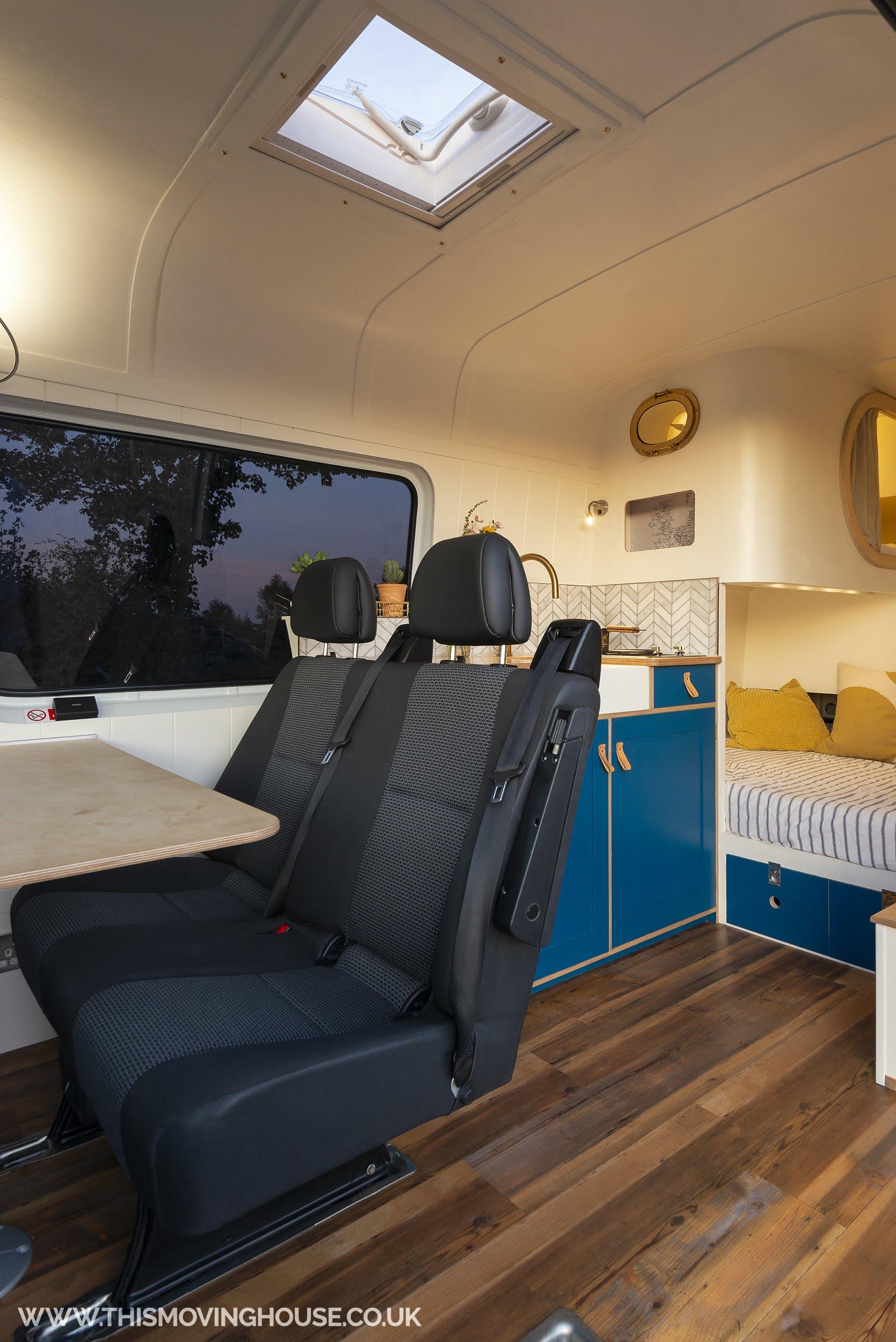 roof light in camper van with handmade surround