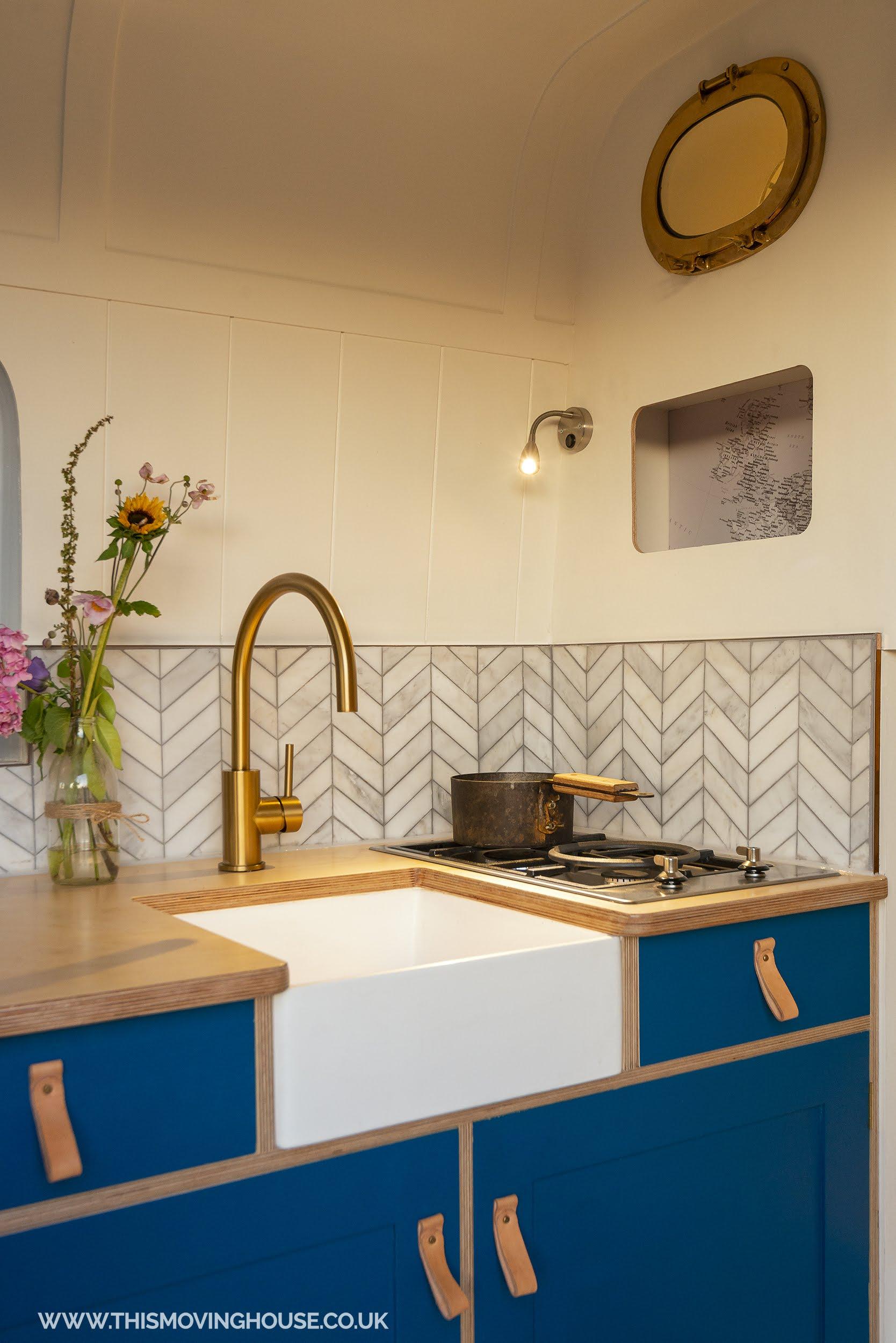 mini belfast sink in a camper van kitchen