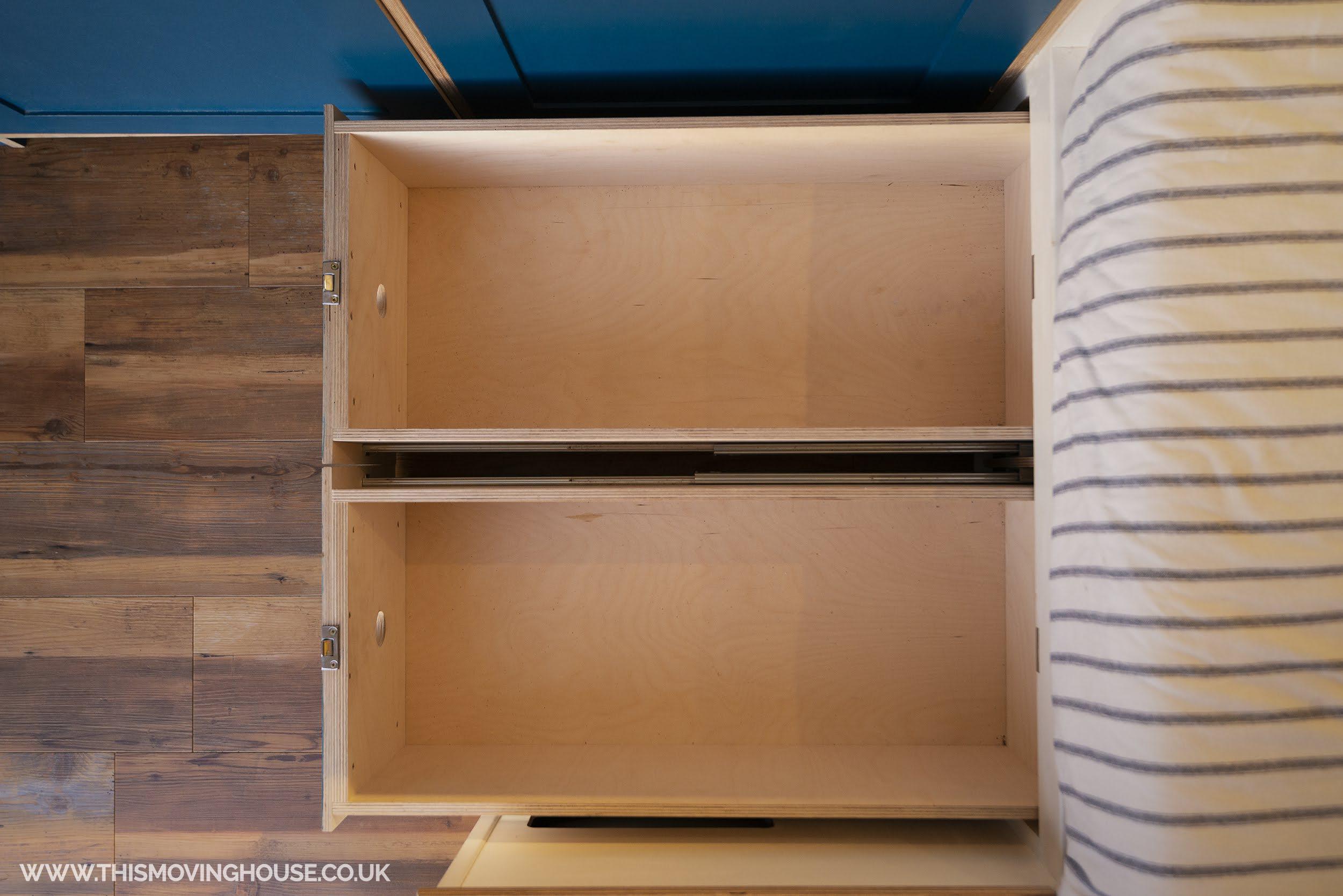 storage solution in a camper van